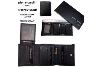 Pierre Cardin RFID Men's Wallet Tri-Fold Genuine Italian Leather - Black