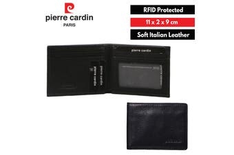 Pierre Cardin Men's Genuine Italian Soft RFID Bifold Slim Wallets - Black