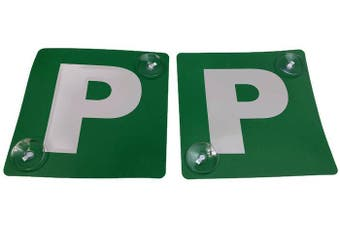 2x GREEN P PLATES Stay-Put Suction Disks Probationary Car Window Signs VIC WA