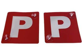 2x RED P PLATES Stay-Put Suction Disks Probationary Car Window Signs NSW