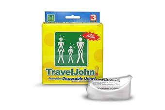 3pk Travel John! Disposable Urinal Resealable Leakproof Hygienic Toilet Odourless