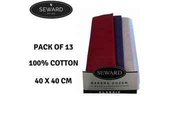 13x SEWARD Mens Handkerchiefs 100% Cotton Everyday Square Hankies Hanky Premium
