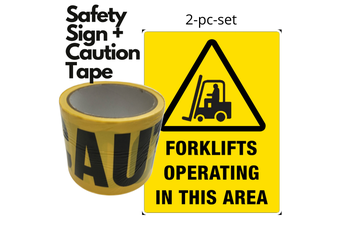 2pc Set Forklift Operating In This Area Safety Sign + Caution Tape Yellow Strip