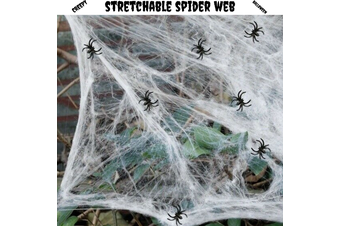 STRETCHABLE SPIDER WEB Spooky Halloween Decoration + 2 Spiders Party Decor Ghost
