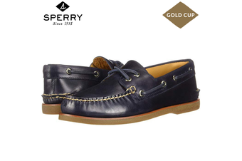 Sperry Men's Gold Cup A/O 2EYE (W) Leather Boat Shoes Top Sider - Navy/Gum