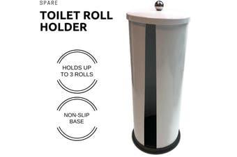 Spare Toilet Roll Holder Metal Bathroom Storage Dispenser White 5435