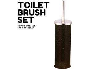 Toilet Brush Holder Metal Bathroom Handle Round Cleaning - Black