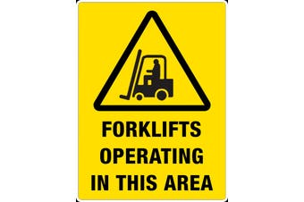 Forklift Operating In This Area Safety Sign OH&S Screw On Caution 33x22cm