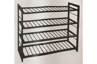 4 Tier DELUXE TIMBER SHOE RACK Natural Shelf Storage Rack Holder Organiser - Dark Brown