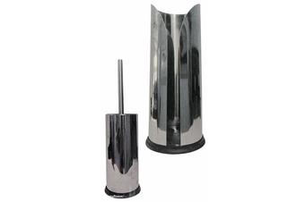 2pc Stainless Steel Bathroom Set Toilet Roll Holder & Brush Metal Cleaning Clean
