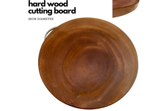 36cm Hard Wood Hygienic Round Cutting Wooden Chopping Board Natural Kitchen