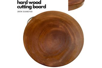 39cm Hard Wood Hygienic Round Cutting Wooden Chopping Board Natural Kitchen