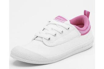 DUNLOP VOLLEYS Volley International Men's Sneakers Casual Lace Up Shoes Canvas [Colour: White/Pink] [Size: 4 UK (5US)]