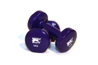 1-Pair 1kg Coated Dumbells Home Gym Workout Sports Exercise Anti Slip