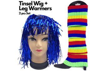 2Pcs Set Tinsel Metallic Wig + Rainbow Leg Warmers 70s Disco Costume Fancy Props