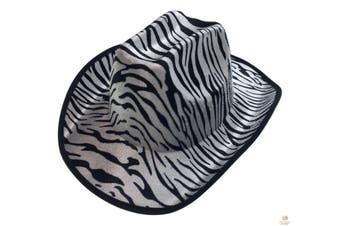 ZEBRA HAT Adult Cowboy Print Wild West Costume Party Fancy Dress Fedora