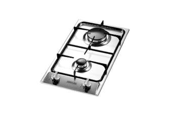 Artusi Cooktop 30cm 2 Burner Gas W/ Flame Failure Stainless Steel AGH30XFFD