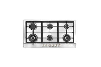 Artusi Cooktop 90cm 6 Burner Gas W/ Flame Failure Stainless Steel AGH90XFFD