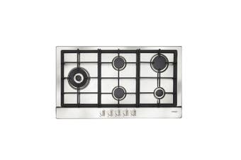 Artusi Cooktop 90cm Gas W/ Left Hand Wok Flame Failure Stainless Steel AGH91XFFD