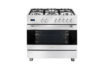 Artusi Oven 90cm Upright 5 Burner W/ Flame Failure 9 Functions Digital Clock Stainless Steel CAFG91X
