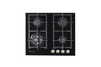 Artusi Cooktop 60cm 4 Burner Gas Hob Glass Black CAGH6000B