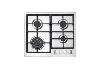 Artusi Cooktop 60cm 4 Burner Gas Hob With Flame Failure Cast Iron Trivets Stainless Steel CAGH600CIX