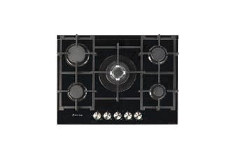 Artusi Cooktop 70cm 5 Burner Gas Hob Glass Black CAGH7000B