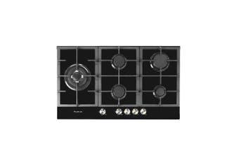 Artusi Cooktop 90cm 5 Burner Gas Hob Glass Black CAGH9000B
