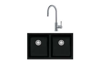 Franke Sink Kubus Double Bowl- Onyx + Eos Pull Out Tap Stainless Steel KBG120ON/TA9501