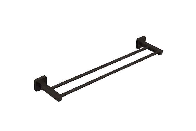 Ucore Double Towel Rail Square 800mm Matte Black UBA12BL7605