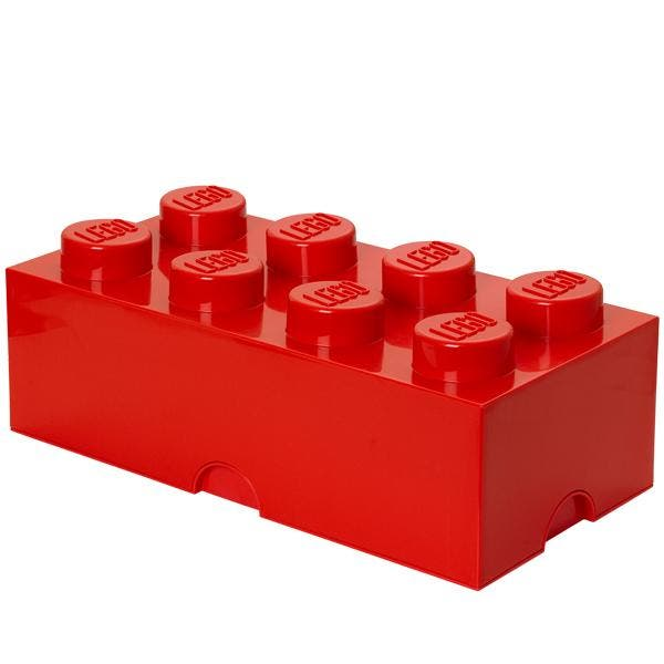 LEGO Storage Brick 8 Red Let children tidy up with a smile. These oversized LEGO® bricks are designed to stack, just like the original LEGO bricks. Decorate, play, build, form and have fun with the boxes, or keep your toys sorted by using them for storage.        Please note: LEGO bricks not included.   Article number: 4004   Dimensions: 500 × 250 × 180 mm / 19.7 × 9.8 × 7.1 in   Material: Polypropylene (PP)   BPA and Phthalate free. No PVC used.     data-custom-more-class-name='' data-custom-less-class-name=''>    LEGO, the LEGO logo, the Brick and Knob configurations are trademarks of the LEGO Group. © 2019 The LEGO Group.