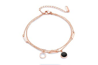 Adorable Louis Double Charm Beach Rose Gold Layered Anklet