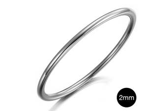Solid Golf Bangle 2mm|White Gold