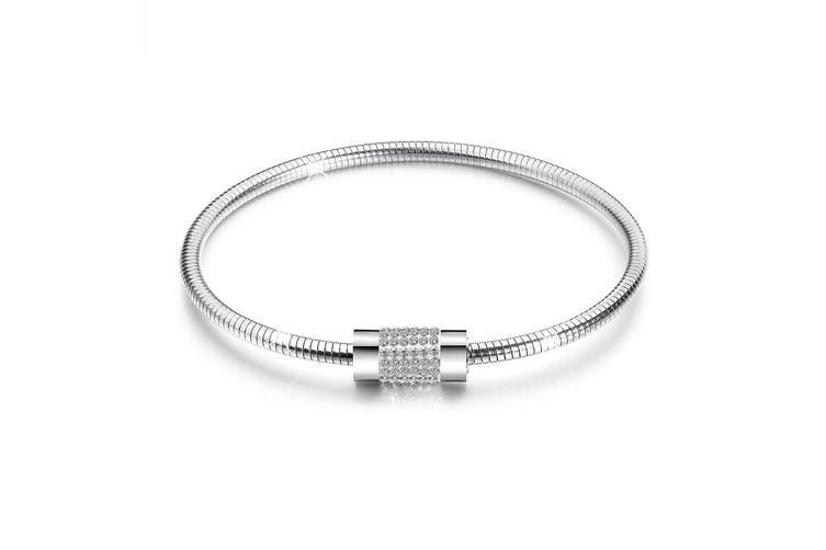 Barrel Clasp Snake Chain Bracelet White Gold