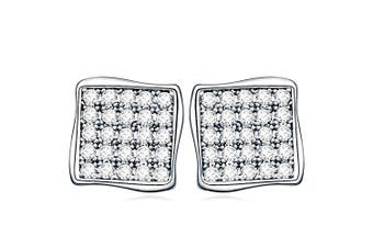 Treasure Square Stud Earrings-White Gold/Clear
