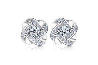 Celestine Earrings-White Gold /Clear