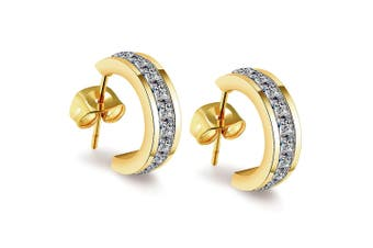 Ariana C-Hoop Earrings-Gold/Clear