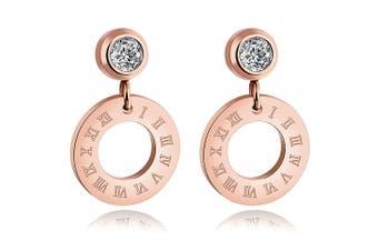 Roman Numeral W/Cz Round Drop Earring-Rose Gold/Clear