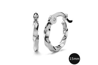 Twisted Hoop Earrings 15mm|White Gold