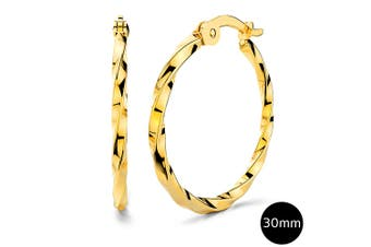 Twisted Hoop Earrings 30mm|Yellow Gold