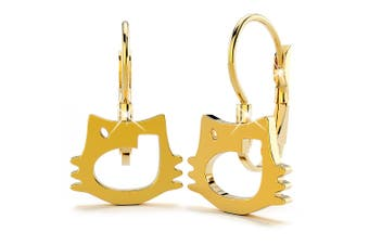 Hello Kitty Cut-Out Leverback Earrings/Gold