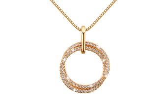 Doubled Round Gold Pendant Necklace