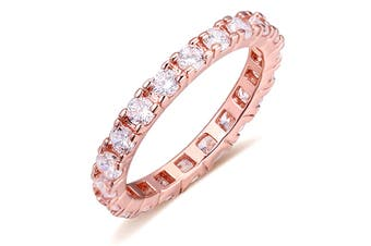 Wide Paradise Ring-Rose Gold/Clear Size US 8