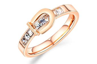 Love Forever Stylish Belt Rose Gold Layered Ring