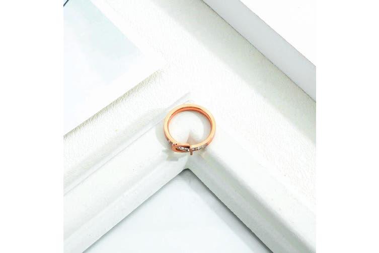 Love Forever Stylish Belt Rose Gold Layered Ring Size US 8