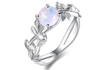 Fancy Cabachon Imitation Opal and CZ White Gold Layered Band Ring