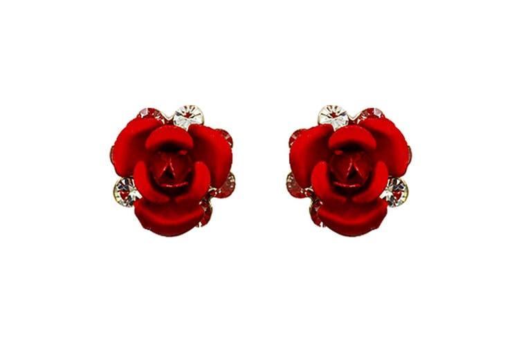 Red Roses Studs Embellished with Swarovski crystals