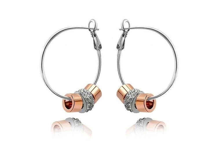 Flat Hoop Earrings Embellished with Swarovski crystals