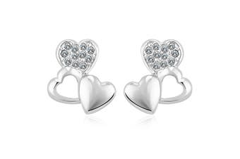 Trio Heart Stud Earrings Embellished with Swarovski crystals