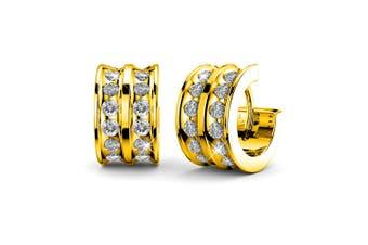 Dazzling Huggie Earrings Embellished with Swarovski crystals